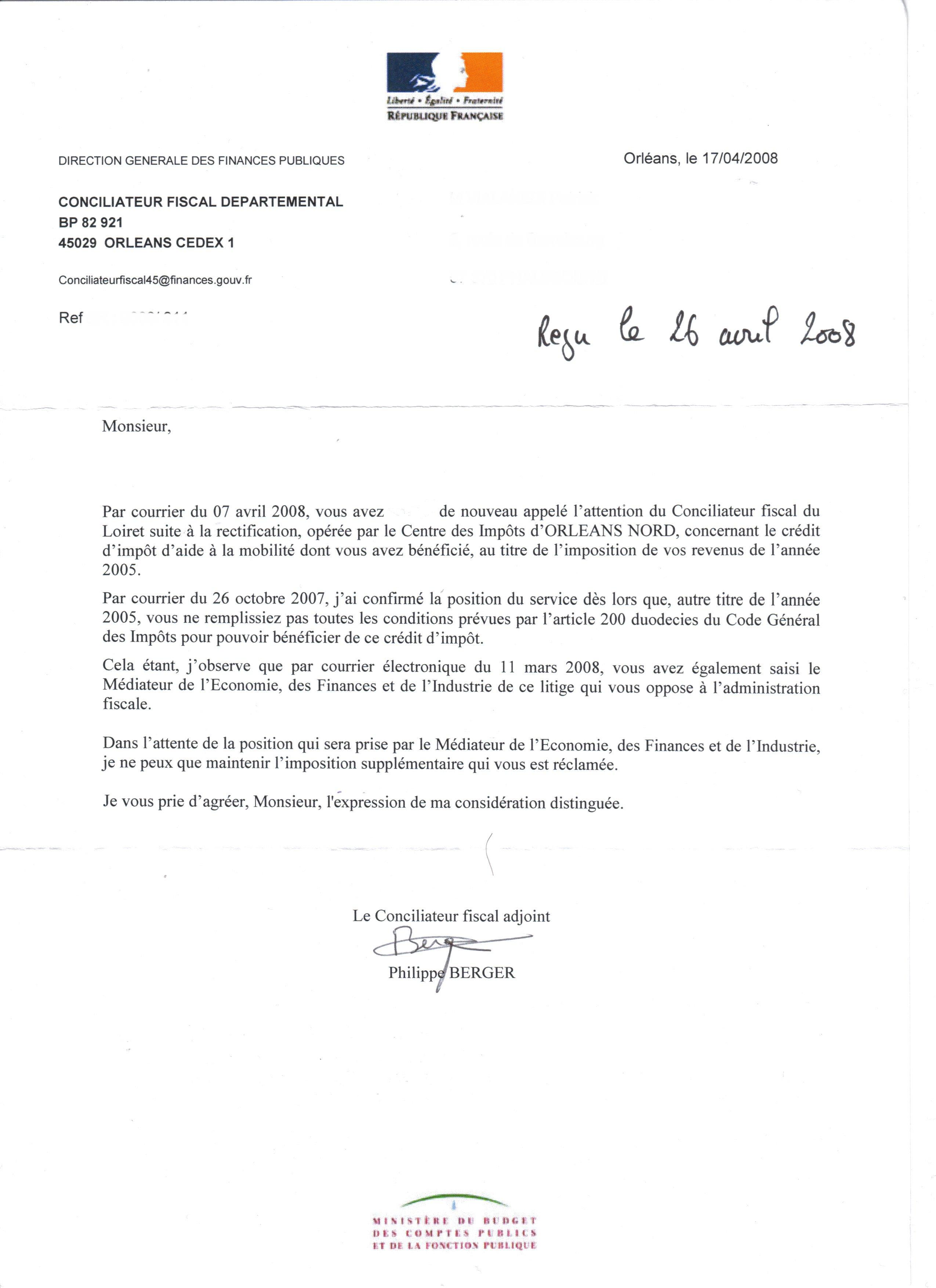 lettre de reclamation impot